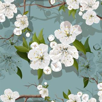 Белые цветы персика