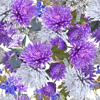 Цветок хризантемы вектор бесшовный фон