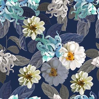 紫の百日草とカナンガの花のシームレスパターン