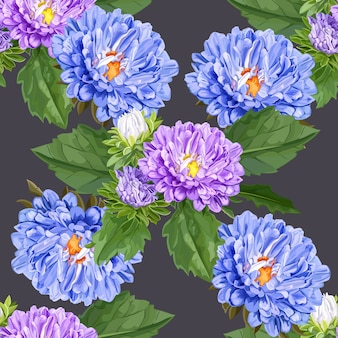 紫の菊の花のシームレスパターン