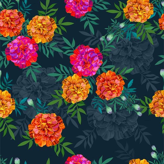 オレンジ百日草の花のシームレスなパターン図