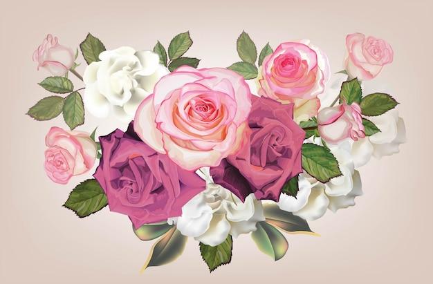 Букет роз розового цвета и цветок бегонии - вектор