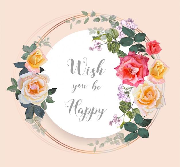 Букет роз с листьями на рамке круга