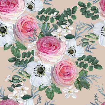 葉とピンクのバラと白の花の花束