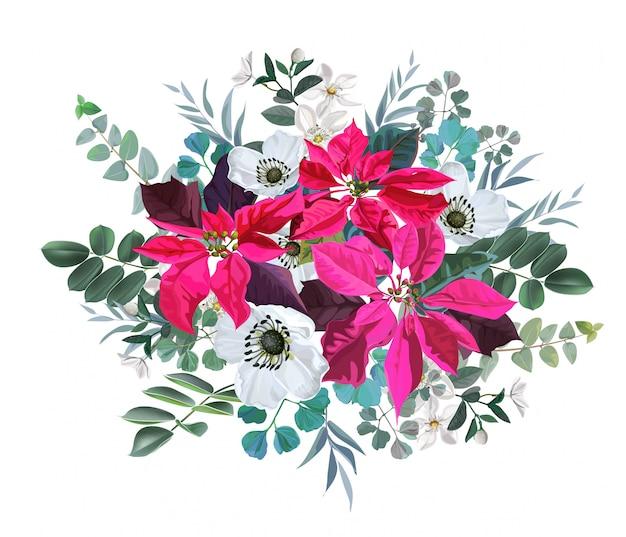 ポインセチアと葉のイラストと白い花の花の花束