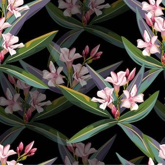 Тропические розовые цветы бесшовные модели