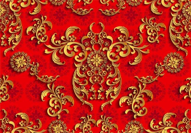 アジアのタイの伝統芸術デザインのシームレスパターン