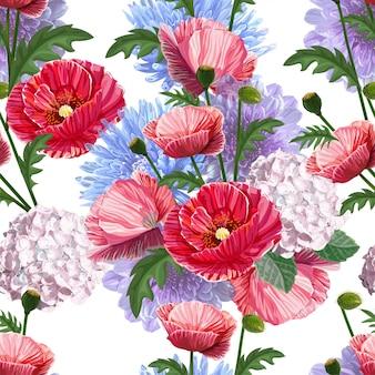 ケシの花のシームレスパターン