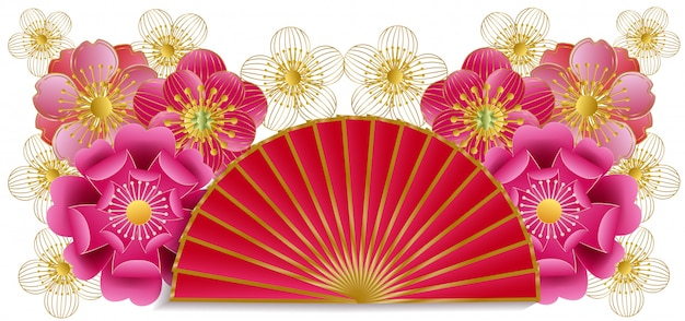 Веер и вишневый цвет бумаги вырезать стиль