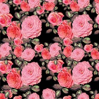 ピンクのバラとシームレスな花柄ベクトルイラスト