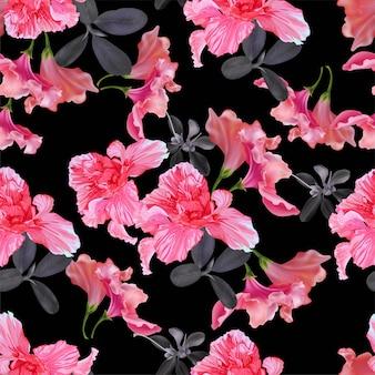シームレス花柄ベクトルイラスト
