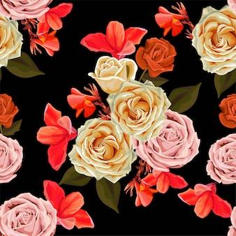 花の美しい背景のベクトル図