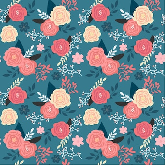 ダークブルーの背景にヴィンテージピンクの花の庭のシームレスパターン