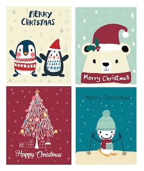 Набор рождественских милые карты