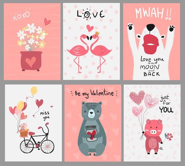 ピンクの愛カードフラットベクトルのコレクション