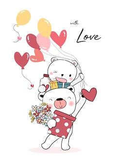 Счастливый плюшевый мишка держит воздушный шар сердце и подарочные коробки