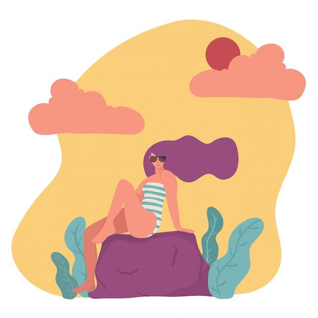 Модный плоский векторный характер женщина в купальнике и солнцезащитные очки