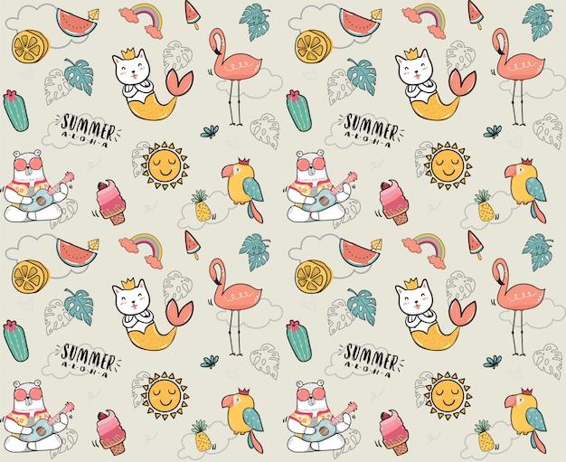 かわいい落書き夏コレクションパターン