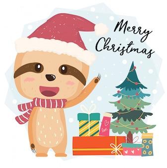 Вектор милого счастливого ленивца плоский с подарочными коробками и рождественской елкой в шляпе санты, с рождеством христовым