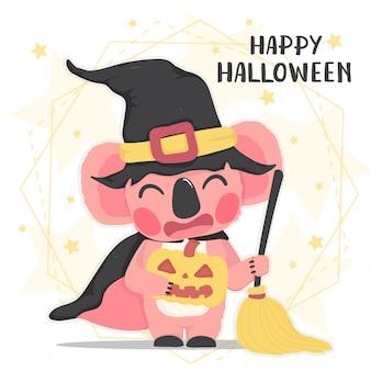 ほうき、ハッピーハロウィン、フラットベクトル漫画動物とハロウィーン魔女の衣装でかわいい動物幸せピンクコアラ