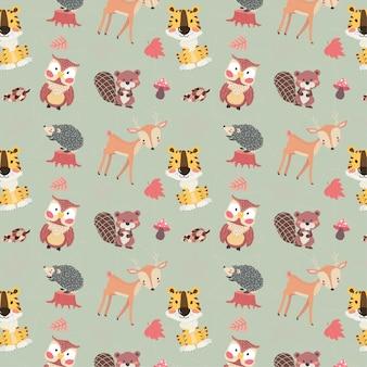 かわいい森の動物キャラクター秋シーズンのシームレスな背景