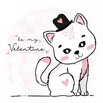 かわいい幸せな子猫猫は私のバレンタインワードグリーティングカードでハートの帽子を着用します。