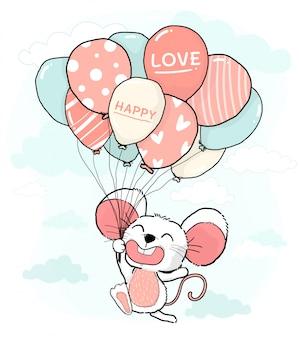 青い空にパステル風船のブランチを持って幸せな笑顔かわいい小さなマウス