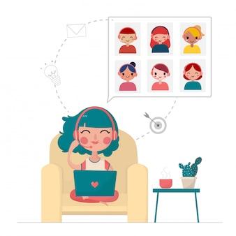 Молодая женщина встречается с друзьями и работает на ноутбуке дома, остается дома, работает из дома концепции