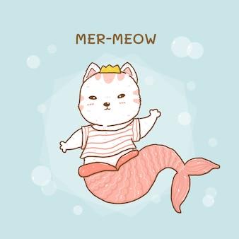 Милая маленькая кошка русалка мяу с пузырьками