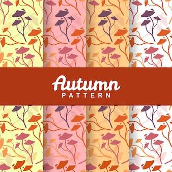 秋のキノコのシームレスなパターンの背景