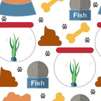 ペットセット装飾要素シームレスなパターンの背景