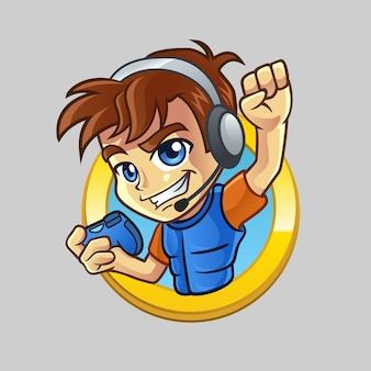 ゲームパッドとヘッドセット付きゲーマーキャラクター