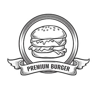 Винтаж бургер логотип