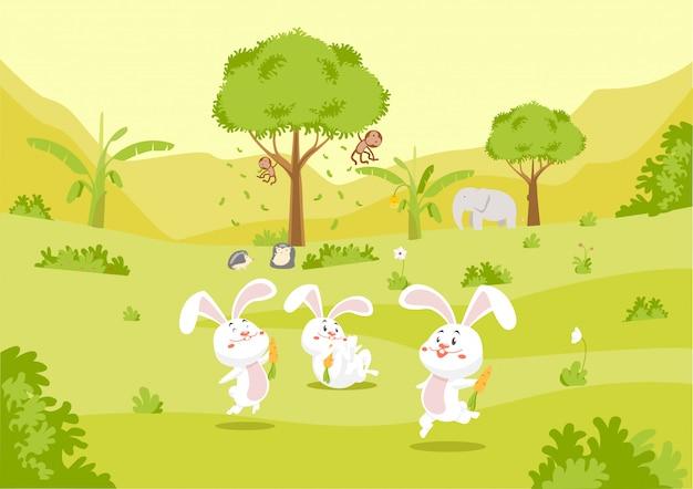 かわいいウサギと自然の中で友達
