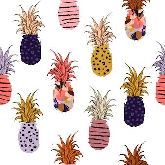 手描きのパイナップル塗りつぶしを手描きの線パターンで描いた