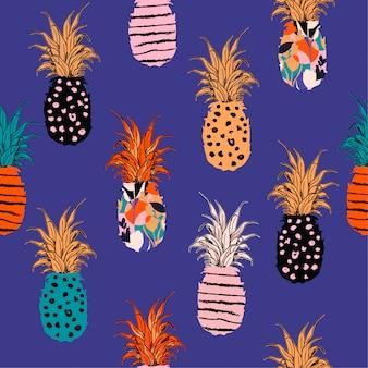 カラフルな手描きパイナップルの手のスケッチの線のパターン