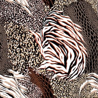 スタイリッシュな混合動物のスキンシームレスなパターンベクトル