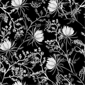 白と黒の東洋のシームレスなパターンの咲く花