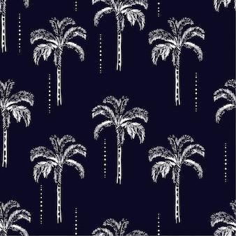 ヤシの木のシルエットベクトルシームレスなパターン