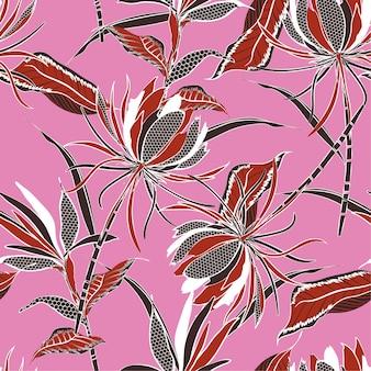 レトロベクトルエキゾチックな花のパターンのシームレスなパターン