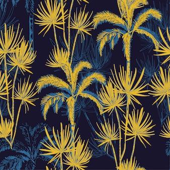 夏の夜の熱帯の手手描きの線のスケッチのヤシの木