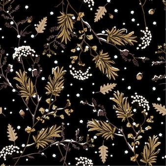 夜の花の冬の雪シームレスなパターンのベクトル