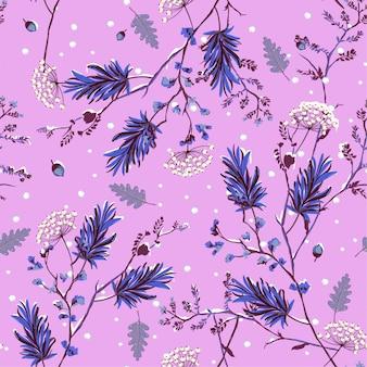 庭の花の冬の雪シームレスなパターンのベクトル