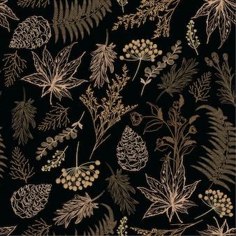 レトロシームレスパターンフォレスト秋植物ベクトル