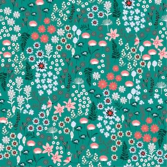 カラフルな自由緑の野生の花のパターンの多くの種類