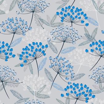 冬のモノトーンブルー手描きのシームレスなベクトルパターン。