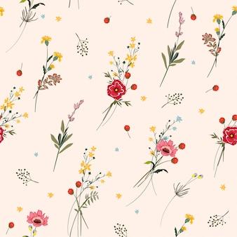 花のシームレスパターン咲く牧草の花の多くの種類