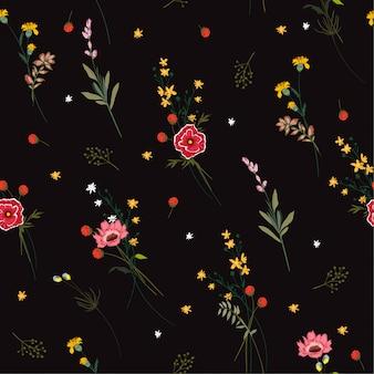 シームレスなパターンの咲く草花のベクトル