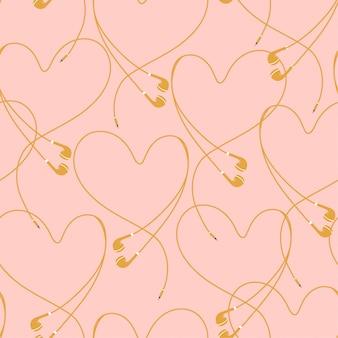 美しいパステルのアイフォーンは、心のシームレスなパターンのベクトルを作成する