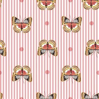 白いストライプの甘いピンクの蝶でシームレスなパターン